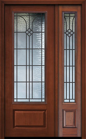 WDMA 44x96 Door (3ft8in by 8ft) Exterior Cherry 96in 1 Panel 3/4 Lite Cantania / Walnut Door /1side 1