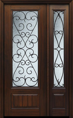 WDMA 44x96 Door (3ft8in by 8ft) Exterior Cherry 96in 1 Panel 3/4 Lite Palermo / Walnut Door /1side 1