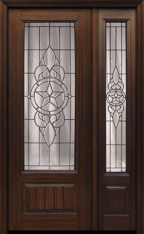 WDMA 44x96 Door (3ft8in by 8ft) Exterior Cherry 96in 1 Panel 3/4 Lite Brazos Walnut / Door /1side 1