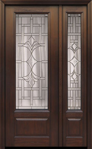 WDMA 44x96 Door (3ft8in by 8ft) Exterior Cherry 96in 1 Panel 3/4 Lite Marsala Walnut / Door /1side 1