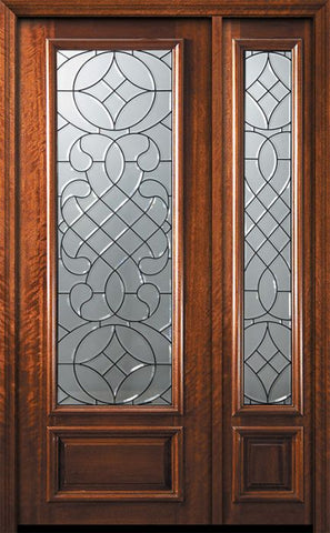 WDMA 44x96 Door (3ft8in by 8ft) Exterior Mahogany 96in 3/4 Lite Savoy Door /1side 1