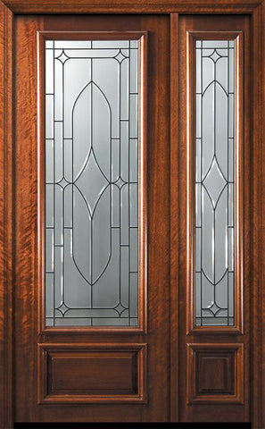 WDMA 44x96 Door (3ft8in by 8ft) Exterior Mahogany 96in 3/4 Lite Bourbon Street Door /1side 1