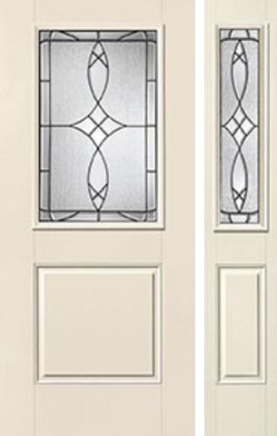 WDMA 46x80 Door (3ft10in by 6ft8in) Exterior Smooth Blackstone Half Lite 1 Panel Star Door 1 Side Half Lite Sidelight 1