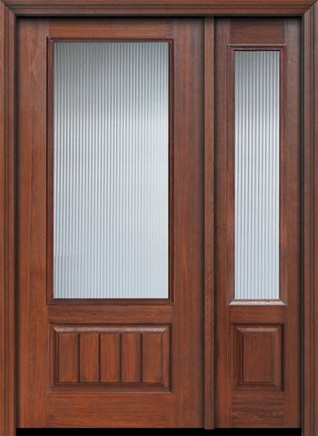 WDMA 46x80 Door (3ft10in by 6ft8in) French Cherry IMPACT | 80in 3/4 Lite Privacy Glass V-Grooved Panel Door /1side 1