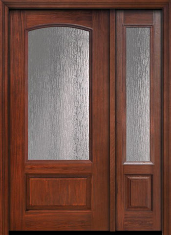 WDMA 46x80 Door (3ft10in by 6ft8in) French Cherry IMPACT | 80in 3/4 Arch Lite Privacy Glass Door /1side 1