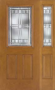 WDMA 46x80 Door (3ft10in by 6ft8in) Exterior Oak Fiberglass Impact Door 1/2 Lite Saratoga 6ft8in 1 Sidelight 1