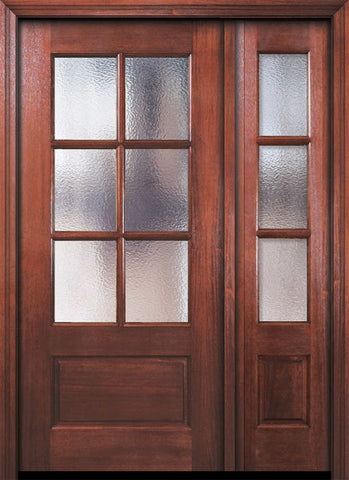WDMA 46x80 Door (3ft10in by 6ft8in) Exterior Mahogany 80in 6 Lite TDL DoorCraft Door /1side w/Textured Glass 1
