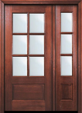 WDMA 46x80 Door (3ft10in by 6ft8in) Exterior Mahogany 80in 6 Lite TDL DoorCraft Door /1side w/Bevel IG 1