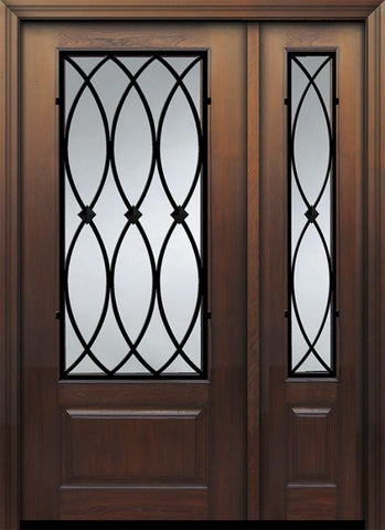 WDMA 46x80 Door (3ft10in by 6ft8in) Exterior Cherry IMPACT | 80in 1 Panel 3/4 Lite La Salle Door /1side 1