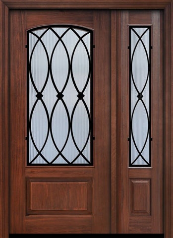 WDMA 46x80 Door (3ft10in by 6ft8in) Exterior Cherry IMPACT | 80in 1 Panel 3/4 Arch Lite La Salle Door /1side 1