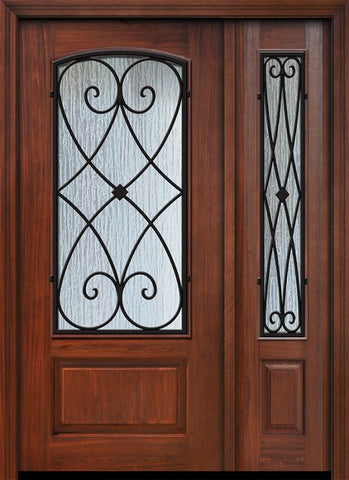WDMA 46x80 Door (3ft10in by 6ft8in) Exterior Cherry IMPACT | 80in 1 Panel 3/4 Arch Lite Charleston Door /1side 1