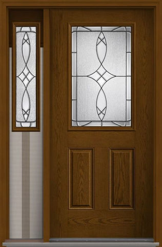 WDMA 46x80 Door (3ft10in by 6ft8in) Exterior Oak Blackstone Half Lite 2 Panel Fiberglass Door 1 Side 1