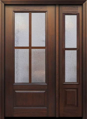 WDMA 46x80 Door (3ft10in by 6ft8in) French Cherry 80in 3/4 Lite 1 Panel 4 Lite SDL Door /1side 1