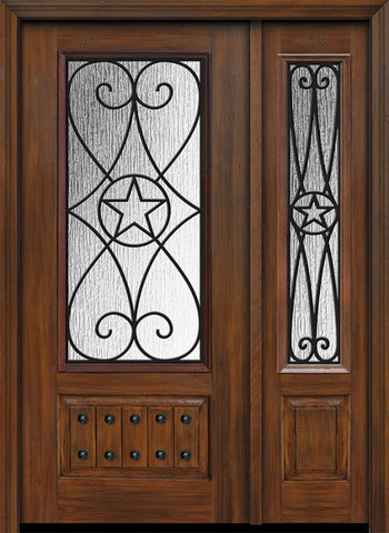WDMA 46x80 Door (3ft10in by 6ft8in) Exterior Cherry 80in 1 Panel 3/4 Lite Austin / Walnut Door /1side 1