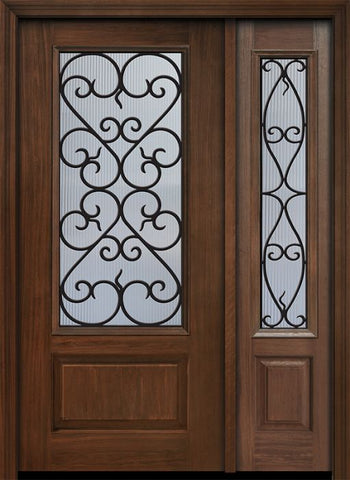 WDMA 46x80 Door (3ft10in by 6ft8in) Exterior Cherry 80in 1 Panel 3/4 Lite Palermo / Walnut Door /1side 1