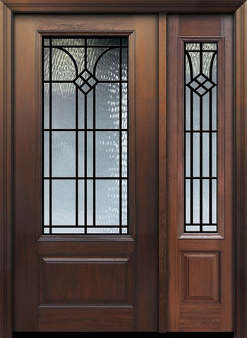 WDMA 46x80 Door (3ft10in by 6ft8in) Exterior Cherry 80in 1 Panel 3/4 Lite Cantania / Walnut Door /1side 1