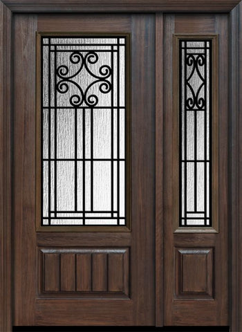 WDMA 46x80 Door (3ft10in by 6ft8in) Exterior Cherry 80in 1 Panel 3/4 Lite Novara / Walnut Door /1side 1