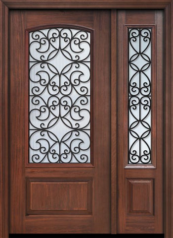 WDMA 46x80 Door (3ft10in by 6ft8in) Exterior Cherry 80in 1 Panel 3/4 Arch Lite Florence / Walnut Door /1side 1