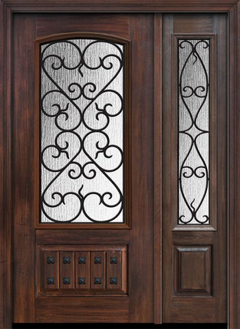WDMA 46x80 Door (3ft10in by 6ft8in) Exterior Cherry 80in 1 Panel 3/4 Arch Lite Palermo / Walnut Door /1side 1