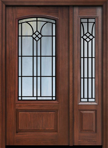 WDMA 46x80 Door (3ft10in by 6ft8in) Exterior Cherry 80in 1 Panel 3/4 Arch Lite Cantania / Walnut Door /1side 1