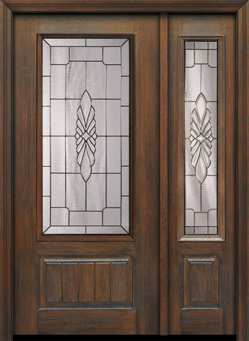 WDMA 46x80 Door (3ft10in by 6ft8in) Exterior Cherry 80in 1 Panel 3/4 Lite Versailles / Walnut Door /1side 1