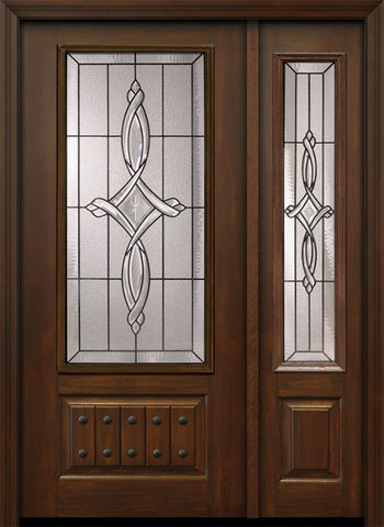 WDMA 46x80 Door (3ft10in by 6ft8in) Exterior Cherry 80in 1 Panel 3/4 Lite Marsais / Walnut Door /1side 1