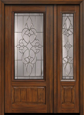 WDMA 46x80 Door (3ft10in by 6ft8in) Exterior Cherry 80in 1 Panel 3/4 Lite Courtlandt / Walnut Door /1side 1