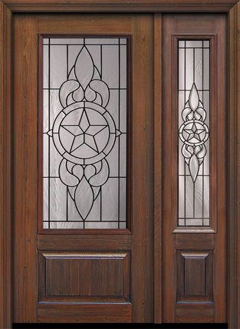 WDMA 46x80 Door (3ft10in by 6ft8in) Exterior Cherry 80in 1 Panel 3/4 Lite Brazos / Walnut Door /1side 1