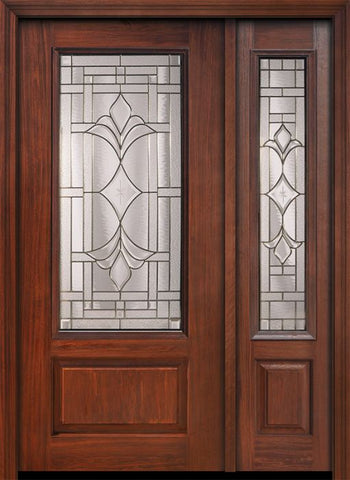 WDMA 46x80 Door (3ft10in by 6ft8in) Exterior Cherry 80in 1 Panel 3/4 Lite Marsala / Walnut Door /1side 1