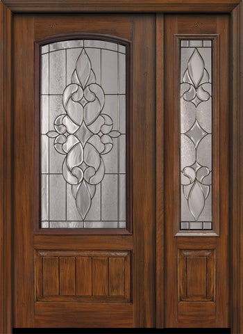 WDMA 46x80 Door (3ft10in by 6ft8in) Exterior Cherry 80in 1 Panel 3/4 Arch Lite Courtlandt / Walnut Door /1side 1