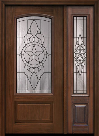 WDMA 46x80 Door (3ft10in by 6ft8in) Exterior Cherry 80in 1 Panel 3/4 Arch Lite Brazos / Walnut Door /1side 1