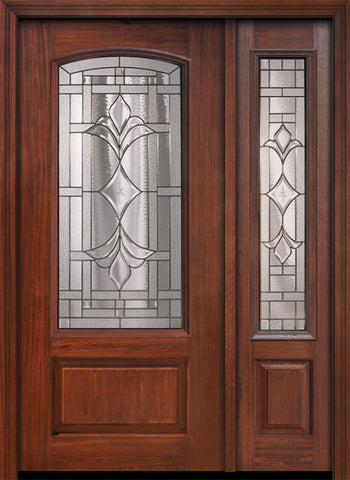 WDMA 46x80 Door (3ft10in by 6ft8in) Exterior Cherry 80in 1 Panel 3/4 Arch Lite Marsala / Walnut Door /1side 1
