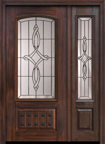 WDMA 46x80 Door (3ft10in by 6ft8in) Exterior Cherry 80in 1 Panel 3/4 Arch Lite Marsais / Walnut Door /1side 1