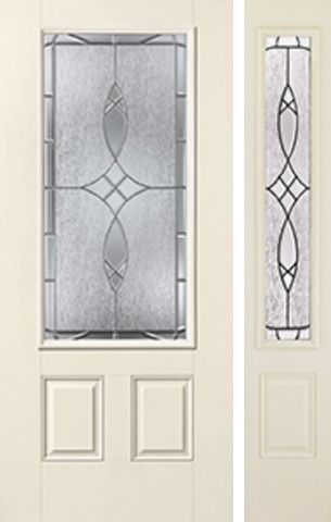 WDMA 46x80 Door (3ft10in by 6ft8in) Exterior Smooth Blackstone 3/4 Lite 2 Panel Star Door 1 Side 1
