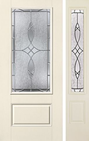 WDMA 46x80 Door (3ft10in by 6ft8in) Exterior Smooth Blackstone 3/4 Lite 1 Panel Star Door 1 Side 1