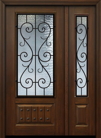 WDMA 46x80 Door (3ft10in by 6ft8in) Exterior Cherry 80in 1 Panel 3/4 Lite St Charles Door /1side 1
