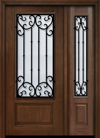 WDMA 46x80 Door (3ft10in by 6ft8in) Exterior Cherry 80in 1 Panel 3/4 Lite Valencia Door /1side 1