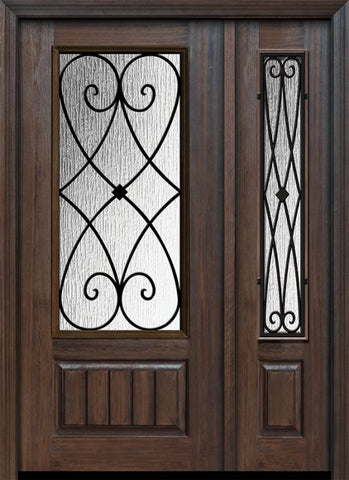 WDMA 46x80 Door (3ft10in by 6ft8in) Exterior Cherry 80in 1 Panel 3/4 Lite Charleston Door /1side 1