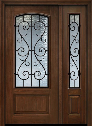 WDMA 46x80 Door (3ft10in by 6ft8in) Exterior Cherry 80in 1 Panel 3/4 Arch Lite St Charles Door /1side 1