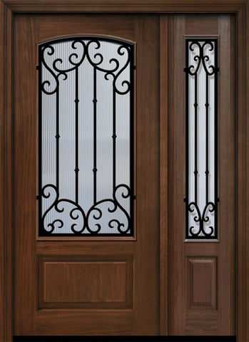 WDMA 46x80 Door (3ft10in by 6ft8in) Exterior Cherry 80in 1 Panel 3/4 Arch Lite Valencia Door /1side 1