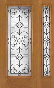 WDMA 46x80 Door (3ft10in by 6ft8in) Exterior Oak Fiberglass Impact Door Full Lite Salinas 6ft8in 1 Sidelight 1