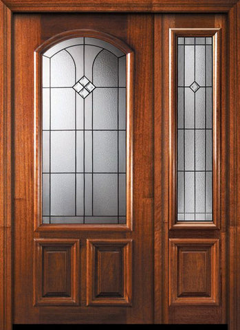 WDMA 46x80 Door (3ft10in by 6ft8in) Exterior Mahogany 80in Cantania Arch Lite Door /1side 1