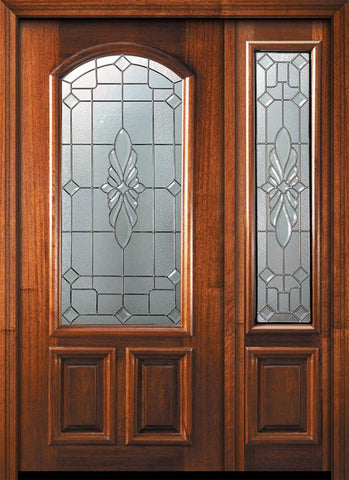 WDMA 46x80 Door (3ft10in by 6ft8in) Exterior Mahogany 80in Versailles Arch Lite Door /1side 1