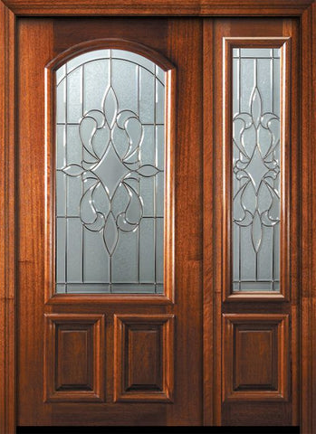 WDMA 46x80 Door (3ft10in by 6ft8in) Exterior Mahogany 80in New Orleans Arch Lite Door /1side 1