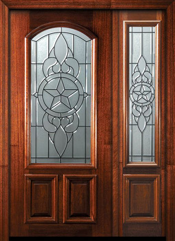 WDMA 46x80 Door (3ft10in by 6ft8in) Exterior Mahogany 80in Brazos Arch Lite Door /1side 1
