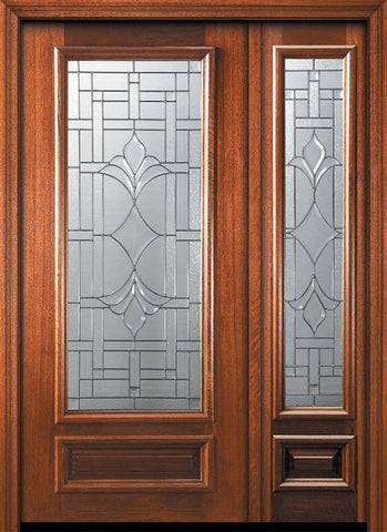 WDMA 46x80 Door (3ft10in by 6ft8in) Exterior Mahogany 80in 3/4 Lite Marsala Door /1side 1