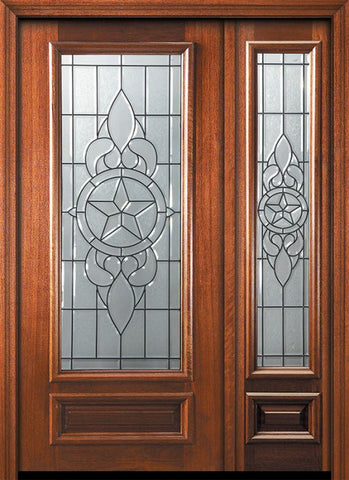WDMA 46x80 Door (3ft10in by 6ft8in) Exterior Mahogany 80in 3/4 Lite Brazos Door /1side 1