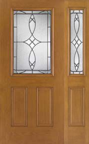 WDMA 46x80 Door (3ft10in by 6ft8in) Exterior Oak Fiberglass Impact Door 1/2 Lite Blackstone 6ft8in 1 Sidelight 1