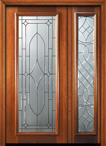 WDMA 46x80 Door (3ft10in by 6ft8in) Exterior Mahogany 80in Full Lite Savoy Door /1side 1