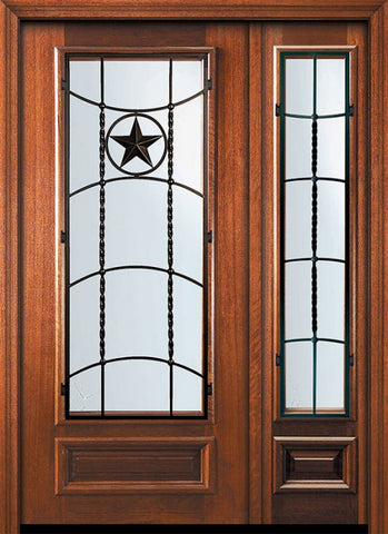 WDMA 46x80 Door (3ft10in by 6ft8in) Exterior Mahogany 80in 3/4 Lite Texan Door /1side 1